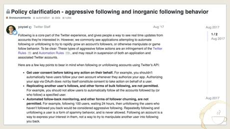 Twitter clarifies policy on aggressive following and inorganic following behavior