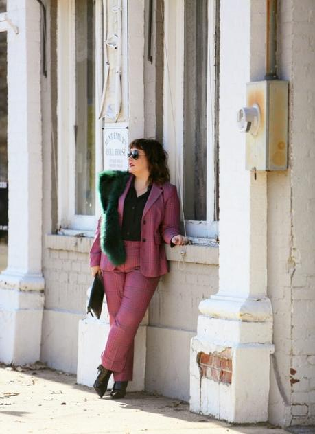 What I Wore: Pink Plaid Pantsuit with Green