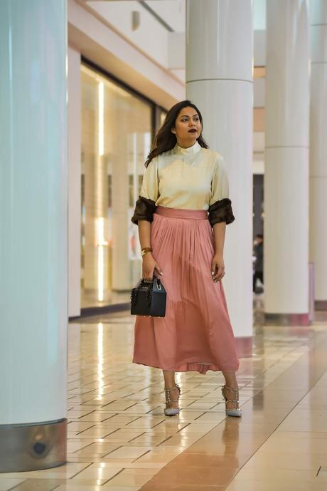 how to wear skirts in winter, dc blogger, fashion, leopard fur coat, j crew skirt. valentino rockstud pumps. street style, fur style, myriad musings, saumya shiohare