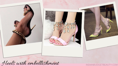 high heel shoes with embellishment