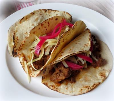 Beef Barbacoa Tacos with Sweet Pickled Onions