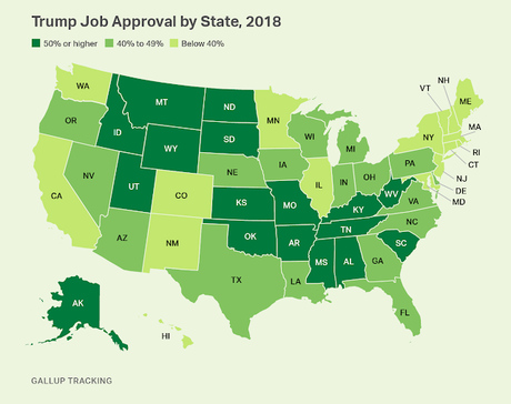 33 States Disapprove Of Job Trump Is Doing - 17 Approve