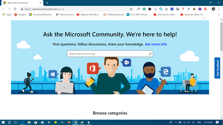 ask microsoft community  to get help in windows 10