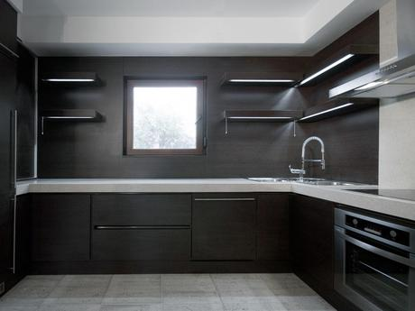 Gray Kitchen Cabinets with Black Counter
