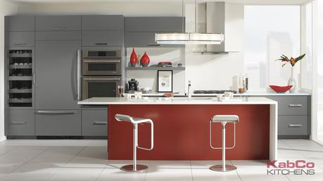 Red Gray Kitchen Cabinet