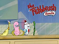 Image: Watch The Toothbrush Family | The bathroom world of the Toothbrush Family is full of surprises - mischievous plastic dinosaurs, runaway pegs, fan-induced blizzards, and dancing shoes... there's even a tooth fairy. All the more fun for the imaginative young toothbrushes, Molly and Max, who spend their days exploring with their friends Susie Sponge, Flash Flouride, and Countess de Comb