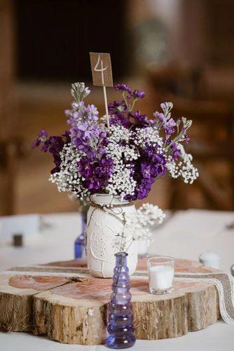 park wedding violet flower in jars Erin Morrison Photography