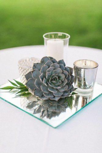 park wedding centerpiece with mirror Almond Leaf Studios