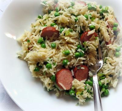 Skillet Sausage, Peas & Rice