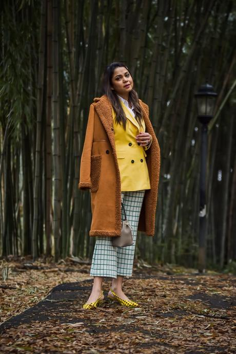 winter layering, plaid cropped pant, yellow and green outfit, hair clip outfit, apparis jacket, fashion, street style, myriad musings, saumya shiohare .jpg