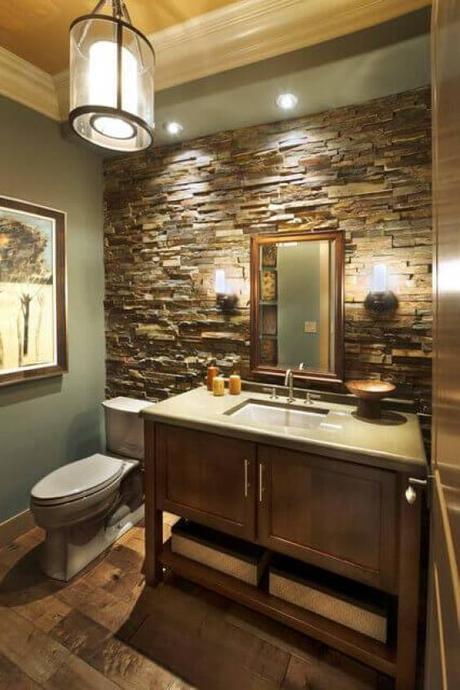 Bathroom Lighting Ideas Light Fixture Stone Wall Bathroom - Harptimes.com