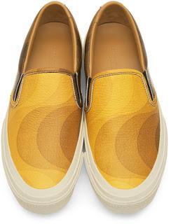 Dries In Color:  Dries Van Noten Yellow & Brown Verner Panton Edition Leather Sneakers