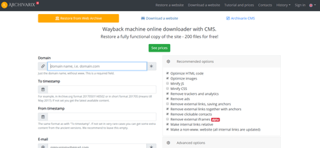 Wayback machine downloader. Online Website Downloader.