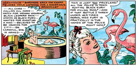 Miss Fury: Erica in the bath, surrounded by pink flamingo wallpaper.