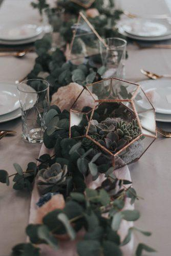 sage green wedding tablerunner greenery and pink geode with geometry terrarium and succulents bai & elle