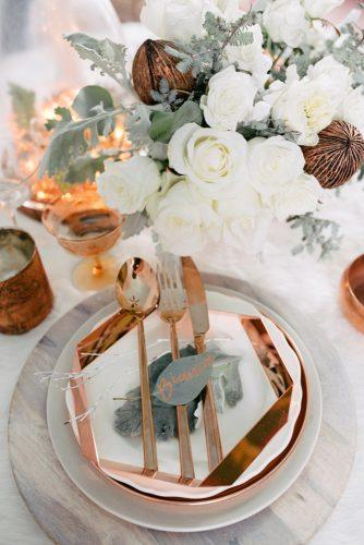 sage green wedding place setting with greenery and gold dishes singler photography