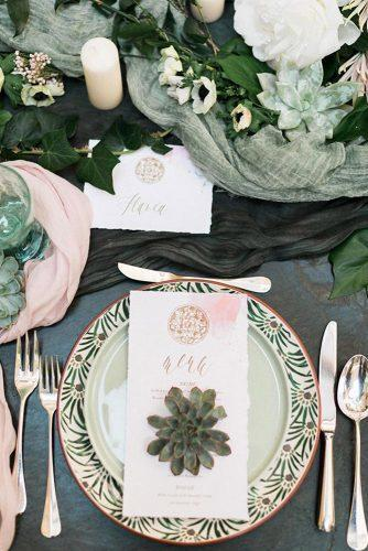 sage green wedding place setting with succulent meny candles and tablerunners sandy and odysseas photography