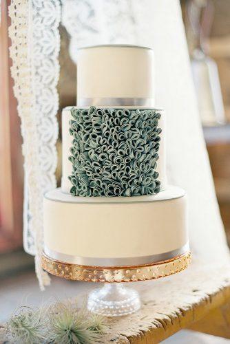 sage green wedding cake white decorated with ruffles erica obrien cake design