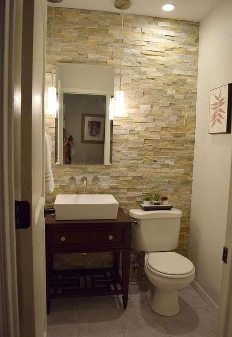 Guest Bathroom Ideas Half Bathroom Stone Wall - Harptimes.com