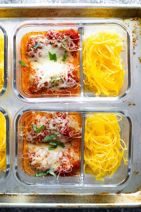 overhead view of Baked Meatball Meal Prep with Spaghetti Squash in glass meal prep containers