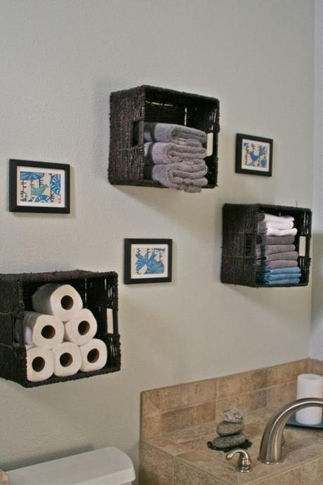 Bathroom Wall Decor Woven Basket Shelf on Wall - Harptimes.com