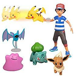Image: Pokémon Battle Figure Multi Pack Set with Launching Action - Includes Ash, Pikachu, Zubat, Eevee, Ditto and Bulbasaur - 6 Pieces - Ages 4+