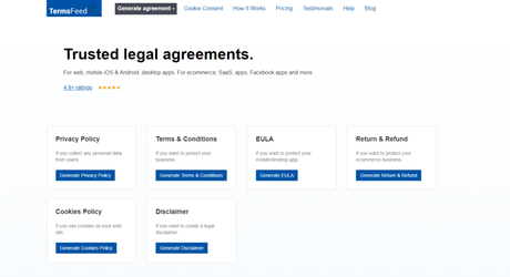 TermsFeed Review 2019: Legit Legal Agreements & Policy Generator(9 Stars)