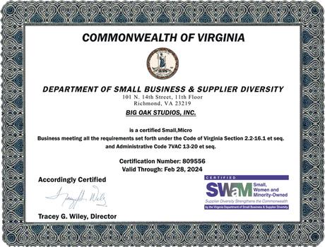 Big Oak Certified as a Small, Micro Business in Virginia