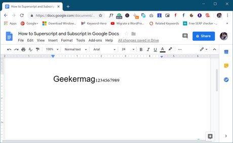 how to subscript in google docs