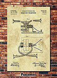 Image: Alexander Graham Bell Telephone Patent Print Art 1881