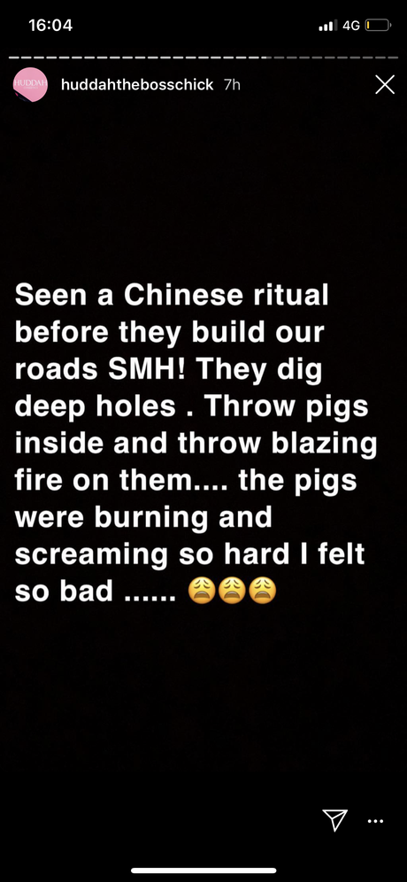 """""""They dig up hole, throw pigs inside and burn them alive!"""" Huddah narrates the rituals Chinese perform before they construct our roads"""