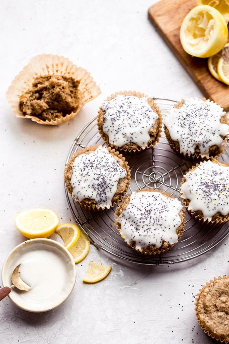 These Lemon PoppyseedMuffins are topped with a lemony glaze to bring out the tart, vibrant flavors of the tender, poppyseed-filled muffins! These gluten-free and vegan muffins are the perfect breakfast, snack, or lunchbox addition for spring.