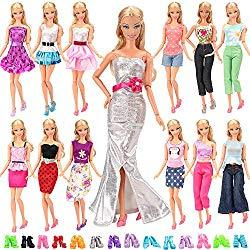 Image: BARWA Lot 20 Items 10 Set Fashion Handmade Clothes Outfit 10 Pairs Shoes for 11.5 Inch Girl Doll