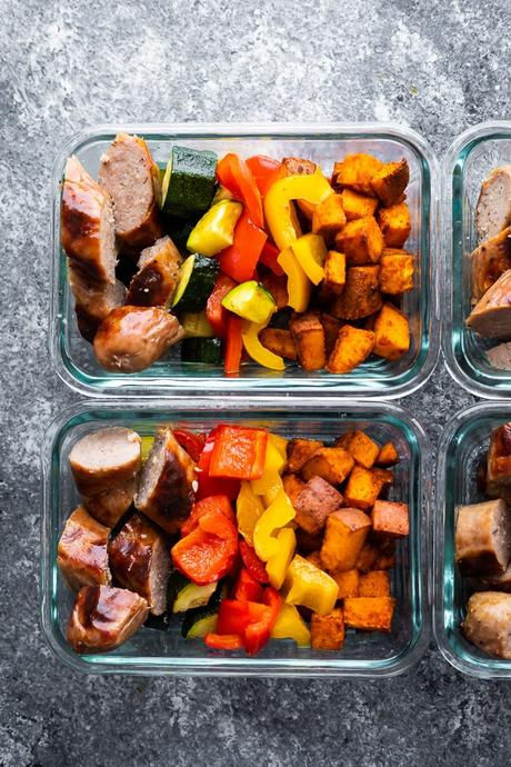 overhead view of Sheet Pan Breakfast Bake in meal prep containers