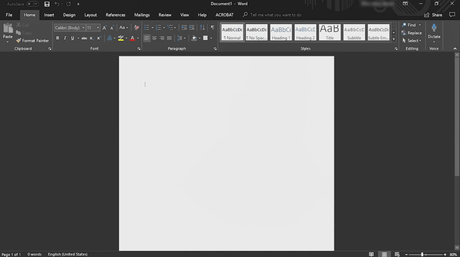 microsoft word dark mode
