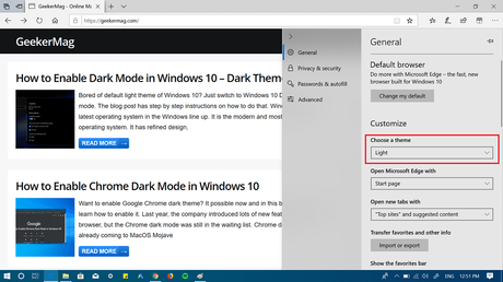 choose a theme in edge browser