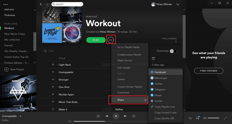 share spotify playlist from desktop app