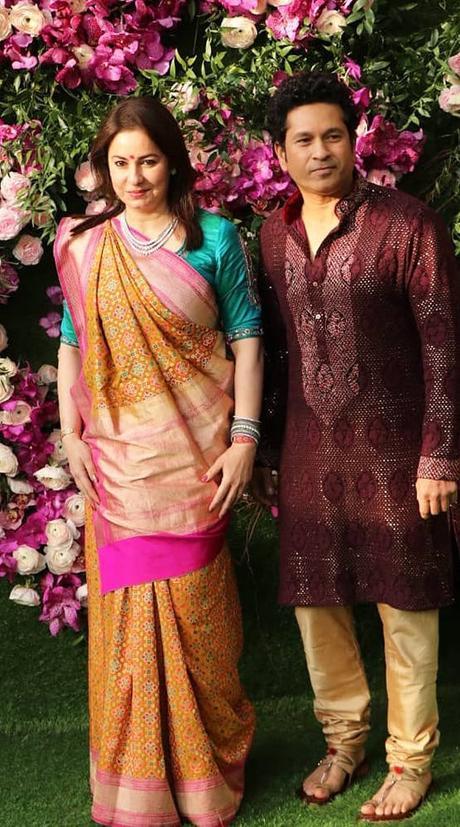 Sachin and Anjali Tendulkar at Akash Ambani-Shloka Mehta Wedding