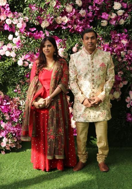 Robin Singh with his wife at Akash Ambani's Wedding