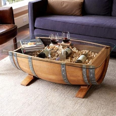 A Coffee Table Made From a Recycled Wooden Barrel