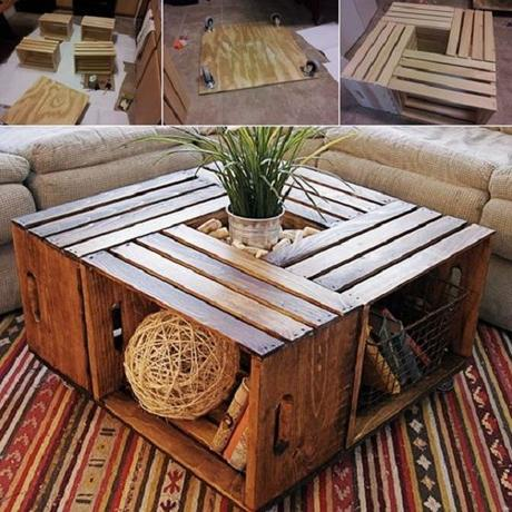 A Coffee Table Made From Recycled Wine Crates