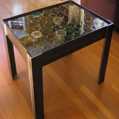 A Coffee Table Made From Recycled Glass Bottles