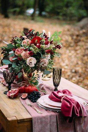 velvet wedding decor pink table decor KraftologyStudio