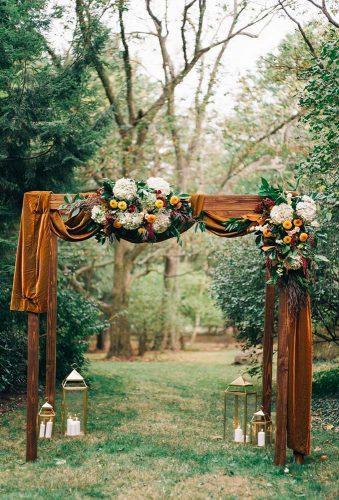 velvet wedding decor brown velvet on arch Sean Cook Weddings