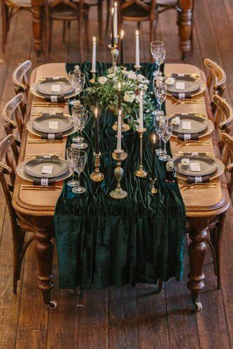 velvet wedding decor dark green reception Jessy Papasavva