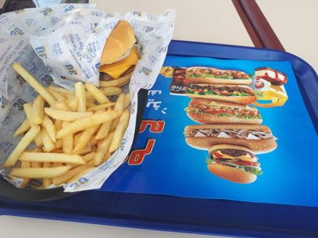 Friday's Featured Food: Cheeseburger, Chips, Cola and Ice Cream in Kudu Fast Food Joint in Shaqra, Saudi Arabia