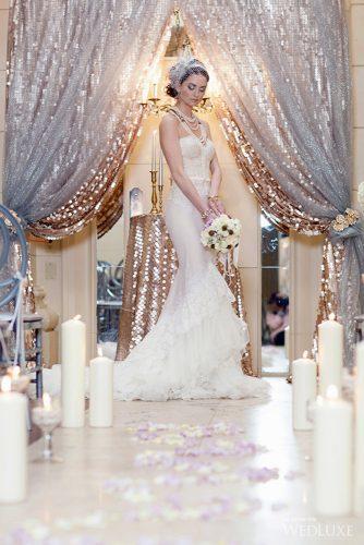 silver wedding decor ideas arch sparkle gold cloth ten over six photography