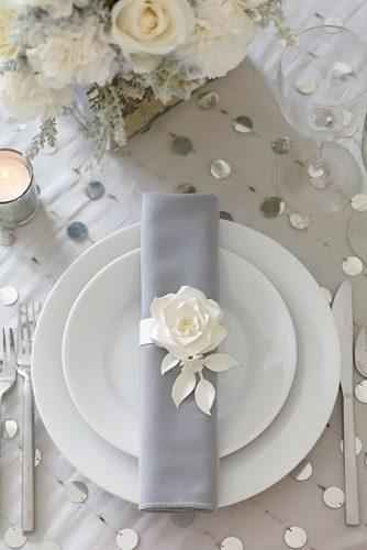 silver wedding decor ideas place setting with white rose philip ficks
