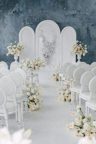silver wedding decor ideas modern ceremony white with silwer backdrop and flower aisle stephanie a smith photography