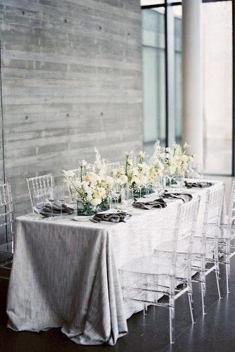 silver wedding decor ideas monochrome reception long table with white flowers jennapowersphoto